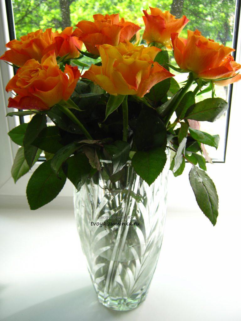 Как сохранить букет роз и других цветов в вазе дольше