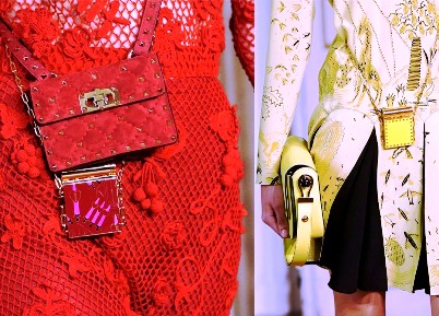 Аксессуары весна-лето 2017 — маленькие сумочки на цепочке от Valentino и Hermes