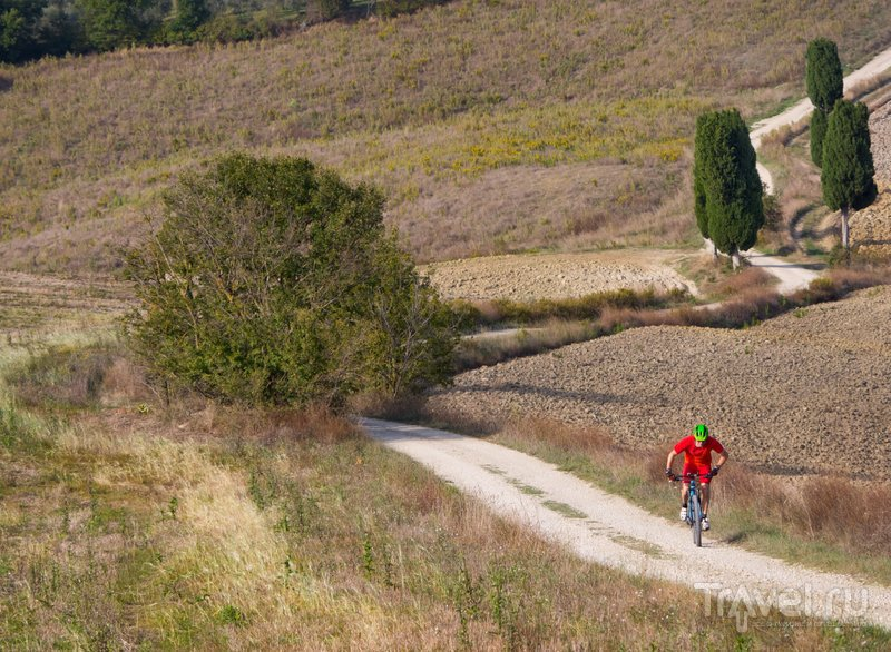 Одинокий велосипедист в Тоскане