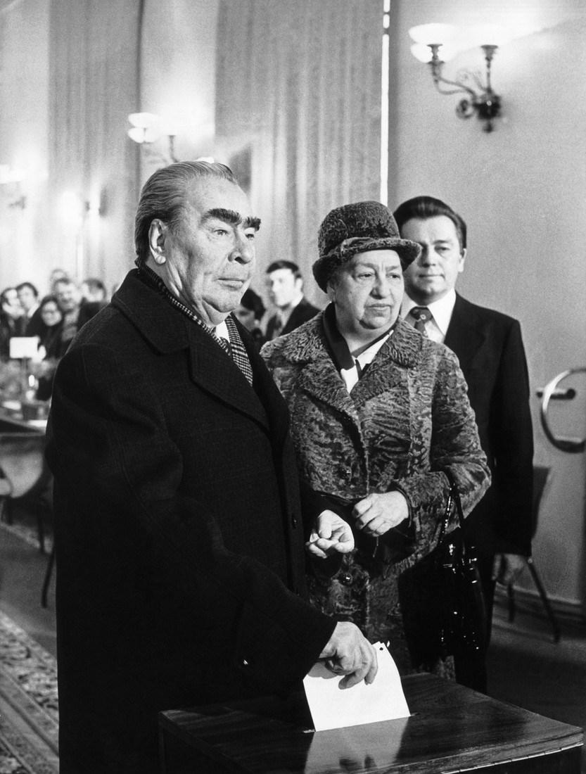 Leonid Brezhnev And His Wife Viktoria Brezhneva Voting In 1979