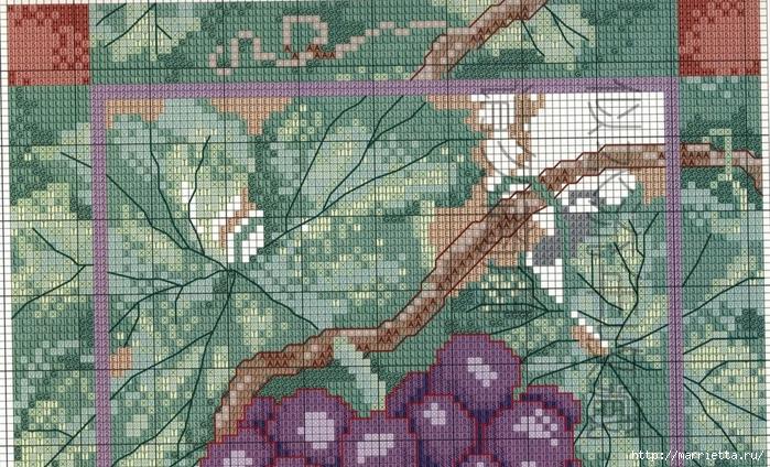 Виноградная лоза. Схемы вышивки крестом (4) (700x424, 364Kb)