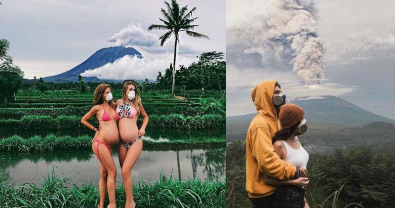 Пока жители Бали уезжают подальше от вулкана, туристы фотографируются на фоне выбросов пепла