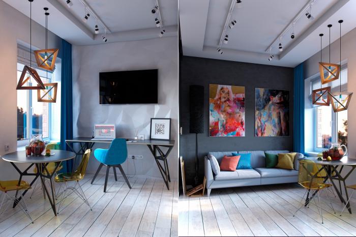 Комнату, которая занимает всего 15, 9 квадратных метров, можно условно разделить на несколько зон.