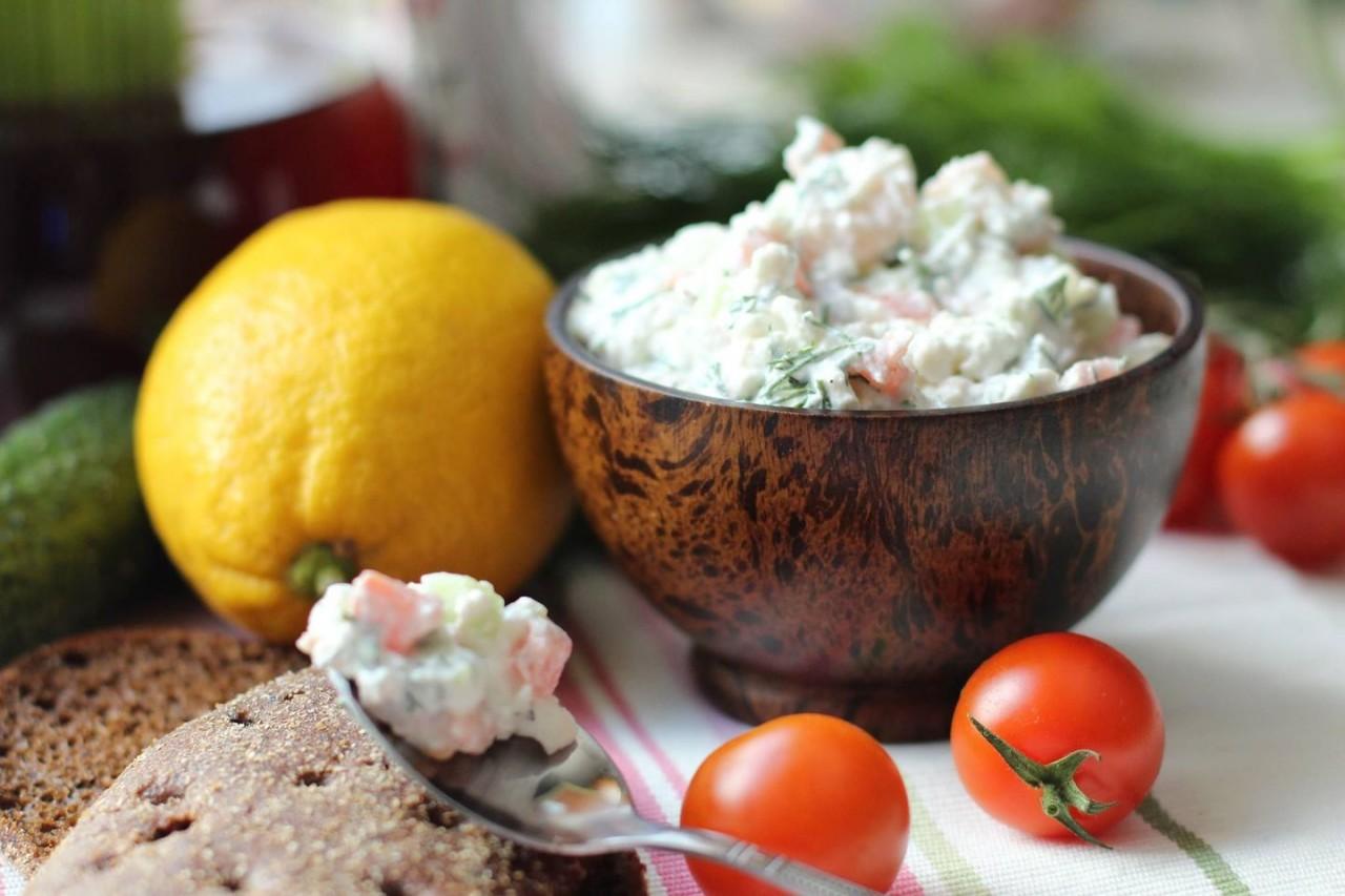 Творог с креветками или как разнообразить здоровый завтрак