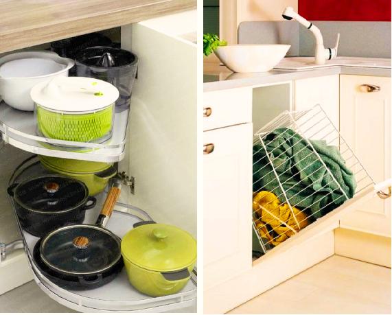 Невероятно полезная вещь для тех, кто «награждён» маленькой кухней — выдвижные системы и элементы