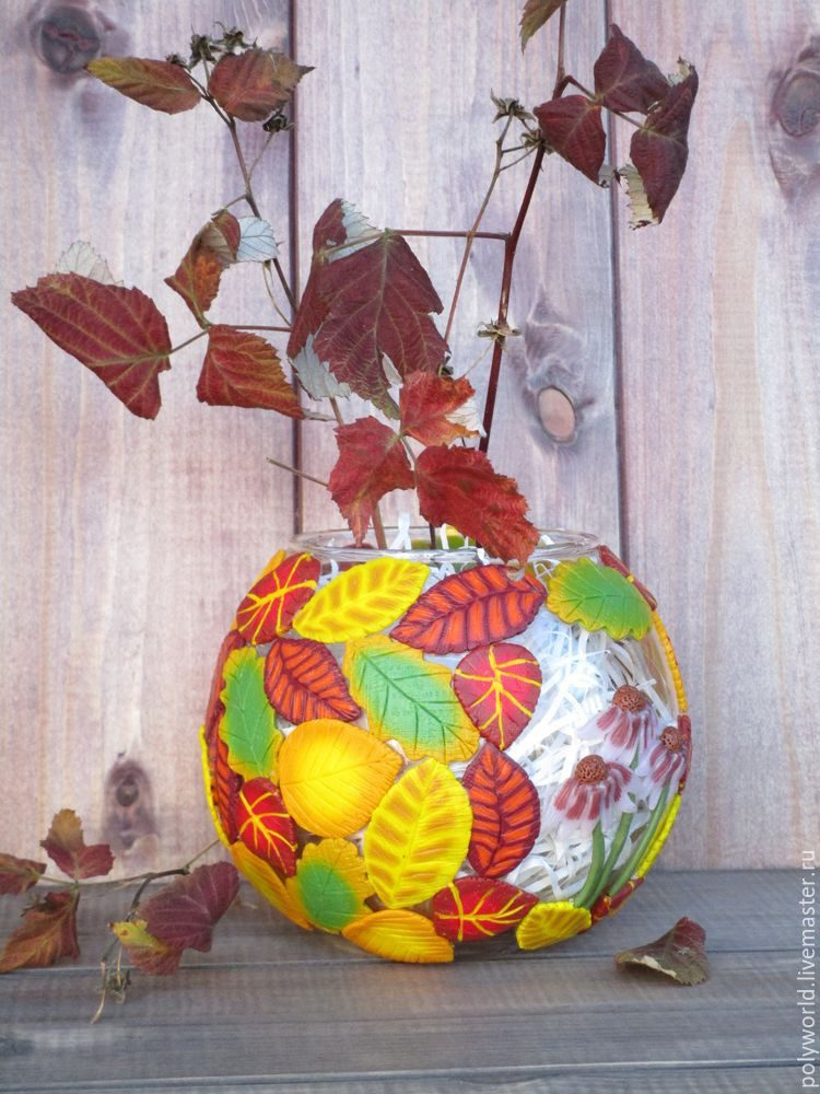 Ваза «Осенняя фантазия» с декором из полимерной глины