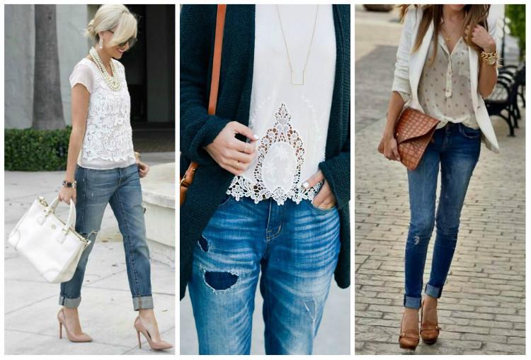 Стиль Casual для женщин, фото: джинсы с кружевными топами