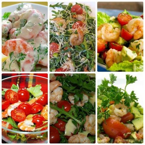 Подборка салатов с креветками.