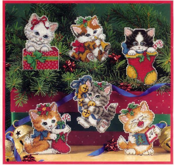 Вышивка «рождественские котята»