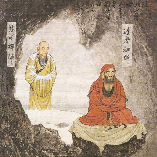 Бодхидхарма во время медитации в пещере