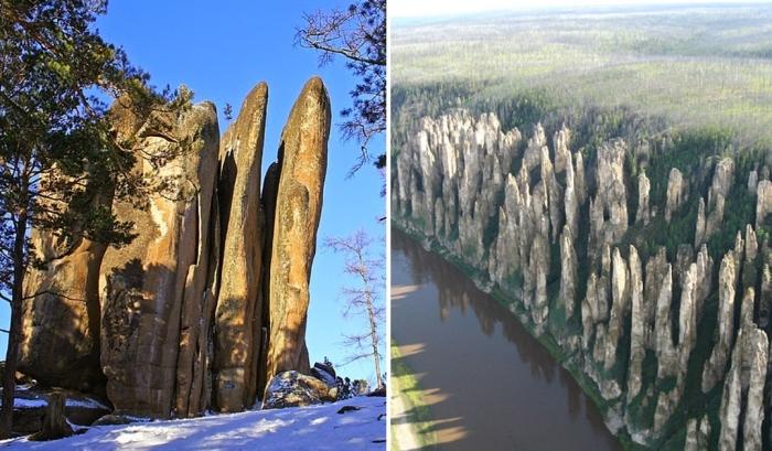 Природные столбы в России.