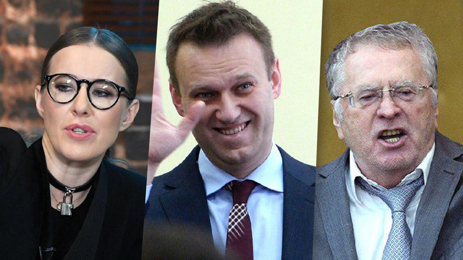 Собчак, Навальный, Жириновский. Определён антирейтинг кандидатов на выборах-2018