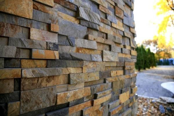 Фасадные панели из каменного шпона