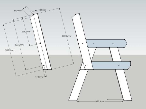 Скамейка со спинкой: чертеж с размерами