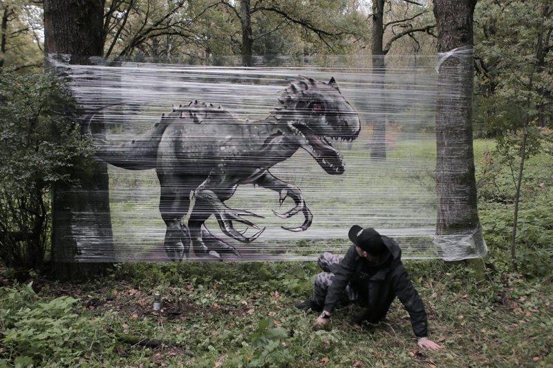 Пищевая пленка в качестве холста для граффити в лесу граффити, животные, идея, искусство, лес, художник