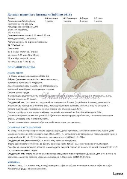 Вязание спицами детская шапочка для новорожденного