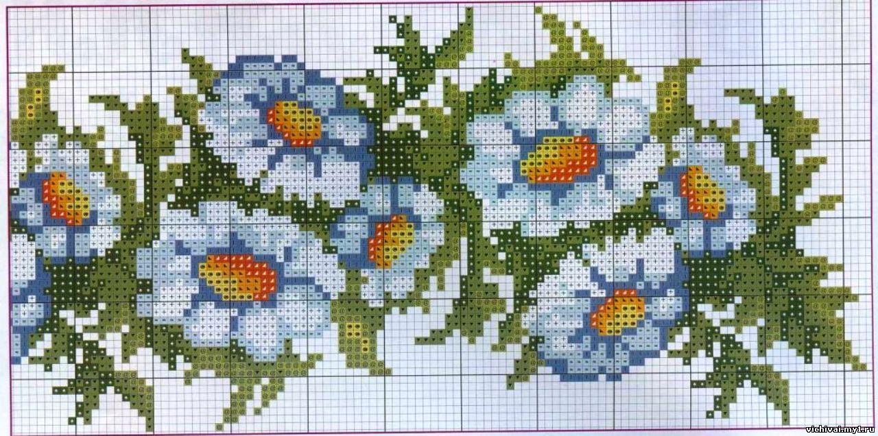 Бордюры из цветов вышивка