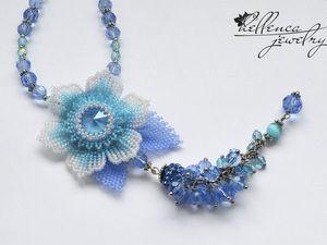 Создаем колье с цветком «Summer Blue»