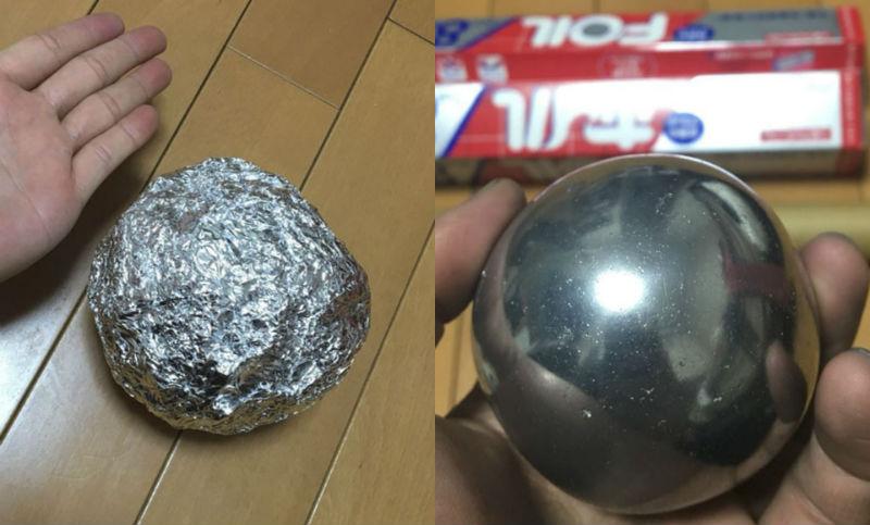 Полируй меня полностью: японцы превращают шары из алюминиевой фольги в блестящее совершенство
