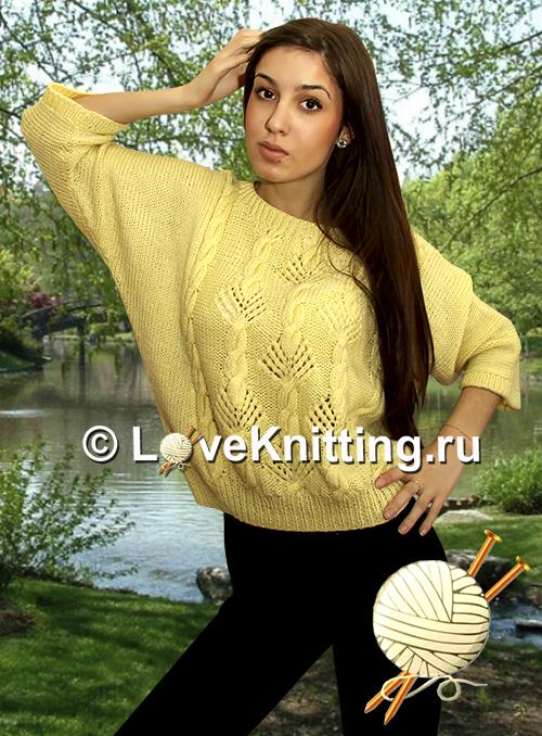 Пуловер с ажуром и «косами»