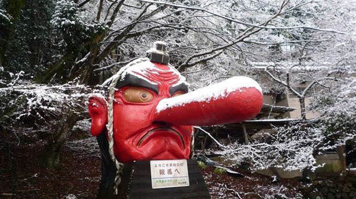 Snow In Kyoto Broke The Nose Of This Tengu, Japanese Fixed It With A Bandaid
