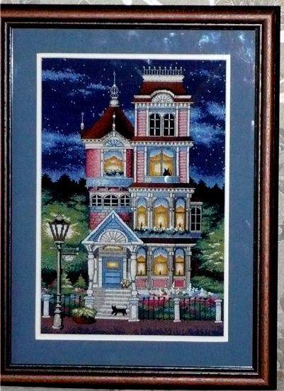 Вышивка викторианские домики