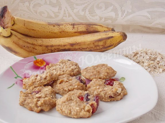 постное печенье из овсяных хлопьев и бананов