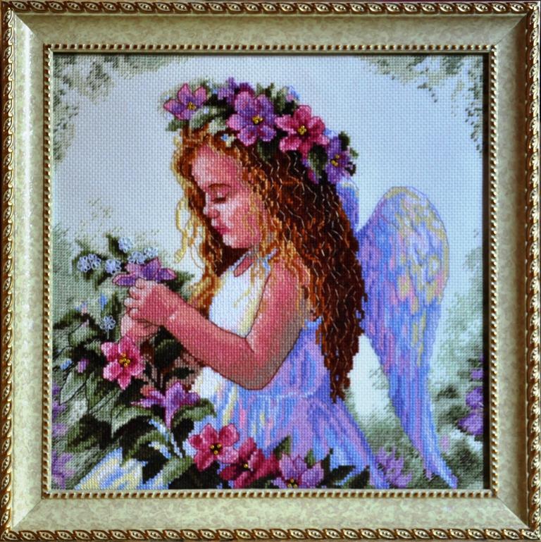 Вышивка крестом ангел цветочный 47