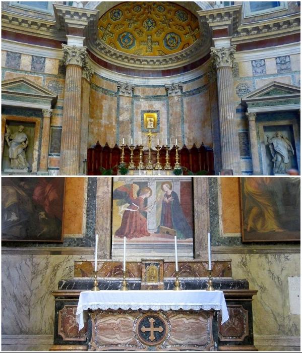 Теперь вместо богов в нишах римского Пантеона расположены статуи святых, фрески, картины и алтари.   Фото: expertitaly.ru/ planetofhotels.com.