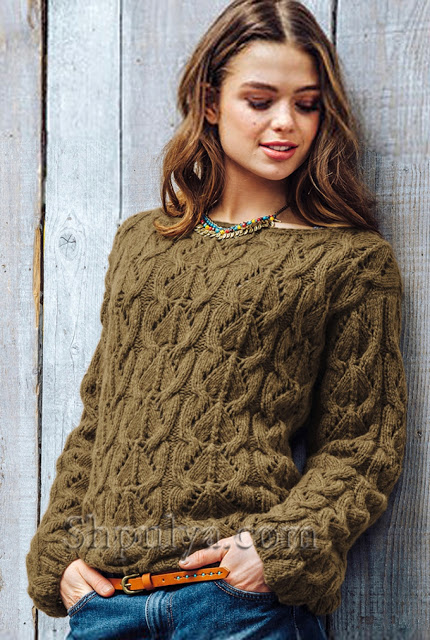 Пуловер фантазийным и интересным узором спицами
