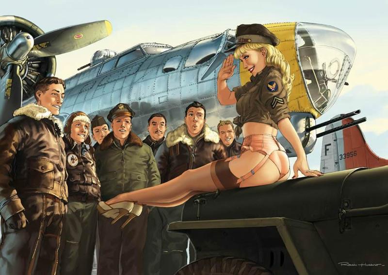 Авиационный pin-up от французского художника Romain Hugault пин-ап, самолеты