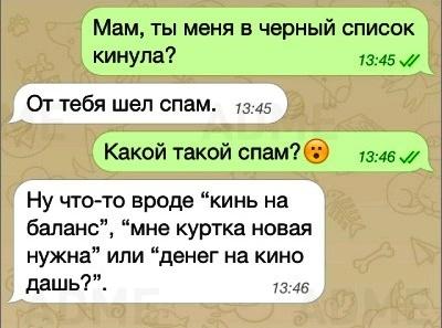 СМС от родителей, которые не полезут за словом в карман ни в каком случае