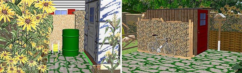 Теплица и поленница в деревенском саду