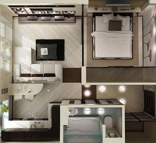 Дизайн проект однокомнатной квартиры: 5 готовых вариантов с фото
