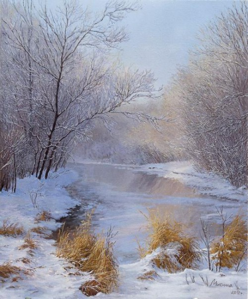 зимние пейзажи Ольга Дидык - 11