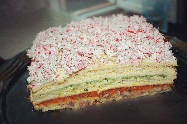 Закусочный торт «Рыбный» с горбушей