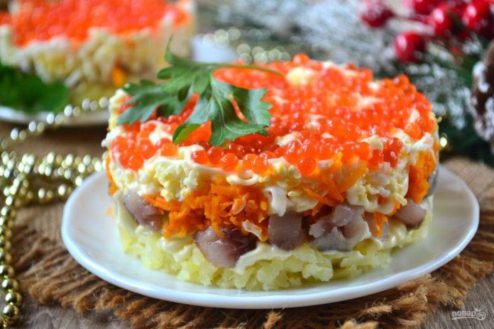 Новогодний вариант любимого салата — Сельдь под дорогой шубой