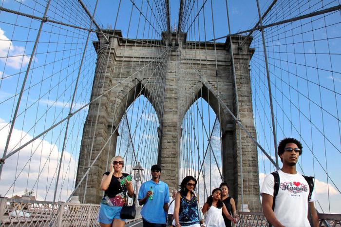 Достопримечательность Нью-Йорка-висячий мост.