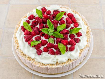 Торт с малиной (без выпечки) — 10 шаг