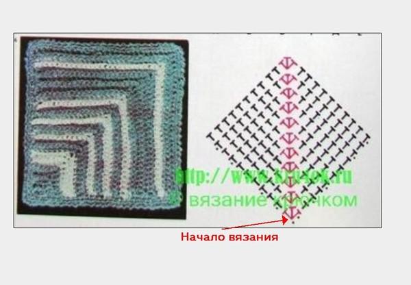 вязание расширение квадрата<br />