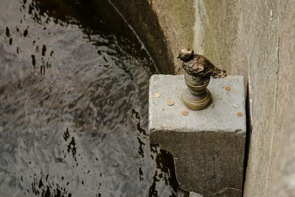 Чтобы сбылось желание, нужно кинуть Чижику-пыжику монетку. Нотак, чтобы она осталась лежать напостаменте, анеупала вводу. : Tamara Selivanova / Shutterstock