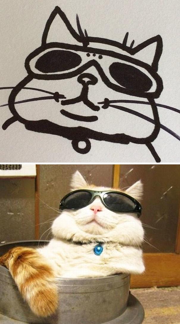 Кто сказал, что вы не умеете рисовать котиков? животные, кот, мир, рисунок, снимок, фотография, художница, юмор