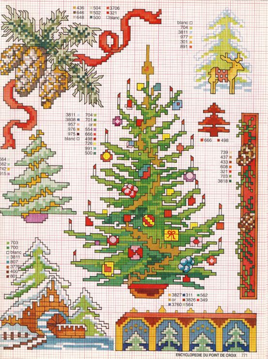 Новогодние идеи для вышивки крестом — елки на любой вкус