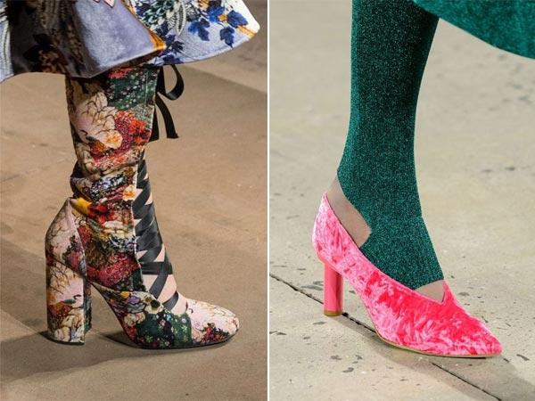 Бархатные сапоги и туфли для осени 2017 Erdem и Tibi