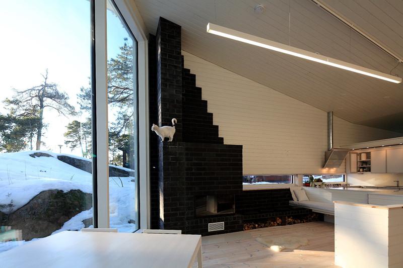 Дом из дерева в финском лесу дизайн, дом