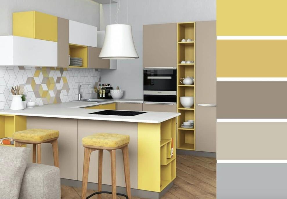 Дополнение комнаты желтыми нотками экрана делает интерьер праздничным и живым.
