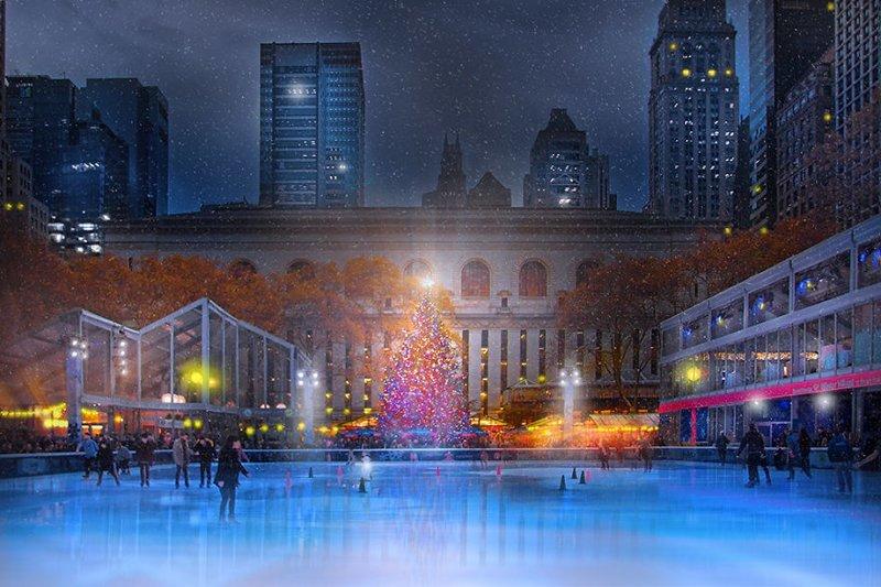 Ежегодно в Брайант-парке проводится традиционная Рождественская ярмарка. Для посетителей ярмарки работает огромный бесплатный каток. Нью -Йорк, красиво, красивый вид, новогоднее настроение, новый год, рождество, сша, фото