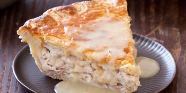 Пирог с курицей, творогом и сыром