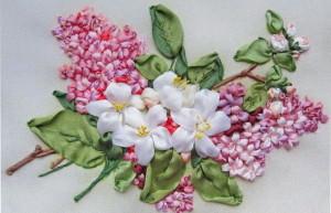 Объемная вышивка лентами цветов