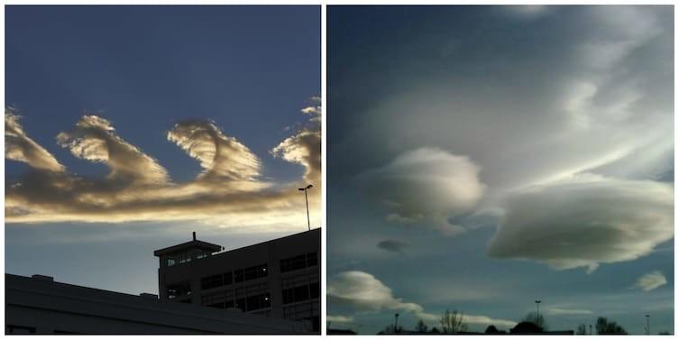Облака слева необычное, природа, удивительное